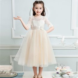 Wholesale Tutus Girls Night - Girl Bud silk long sleeve flower girl dresse kids Autumn party Night Princess wedding dress for 4-12 yrs girls clothing
