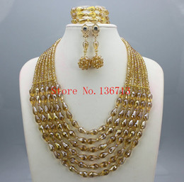 Wholesale Silver Jewellry Sets - Splendid Nigerian Wedding Beads Jewellry Set Choker Necklace Set African Women Bridal Jewelry Set Gold Plated Free Ship SD601-2