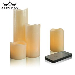 Wholesale festival sets - 4 Pcs  Set Remote Control Electric Candle Light Yellow Flickering Flameless Led Candles For Home Festival Wedding Party
