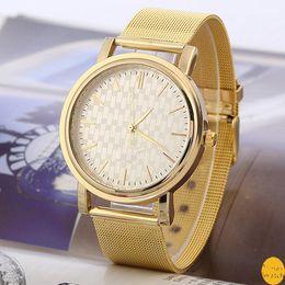 Wholesale Titanium Dress Watches - New Fashion Luxury Women Dress Brand Quartz Wristwatches Ladies Casual Flat Gauze Gold Watches montre femme