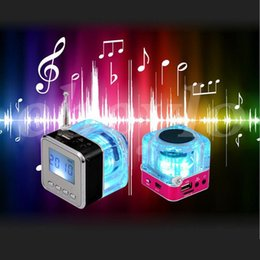 Wholesale Mini Speaker Mp4 - Nizhi TT-028 LED Crystal Mini Speaker Portable Speakers FM TF U Disk LCD Display Subwoofer for iPhone MP4 MP3 Music Player