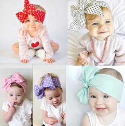 Wholesale Chevron Accessories - Lovely bowknot Headband chevron striped baby Hair Head Band Cotton Bow Knot Headband pure color infant rabbit babies hair accessories