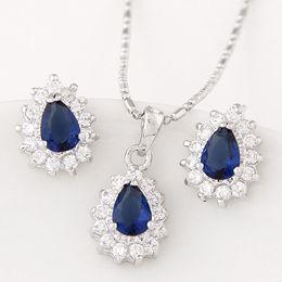 Wholesale Korean Diamond Necklace - Korean Cooper Jewelry Sets Fashion Zircon Wedding Jewelry For Women Bijoux Jewellery Sets Diamond Necklace Earring Sets Jewelry