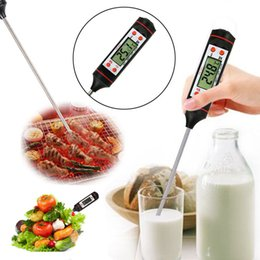 Wholesale Digital Probe Meat Thermometer Kitchen - Digital Cooking Food Probe Meat Household Thermometer Gauge Kitchen BBQ 4 Buttons Stainless Steel Food Cooking BBQ Meat Steak Probe