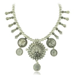 Wholesale Big Coin Necklace - Bohemian Silver Metal Ball Chain Big Round Disc Coin Tassel Collar Statement Necklace Ethnic Tribal Boho Turkish Collares Wholesale 6 Pcs