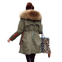 Wholesale Down Coat Racoon Fur Collar - Wholesale-Promotion 2015 Winter Plus Size Long Warm Racoon Fur Collar Hoody Down&Parkas Coat Women Free Shipping
