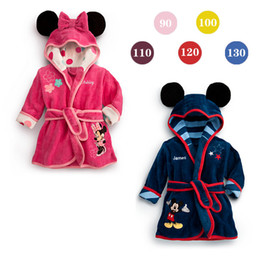 Wholesale Baby Thermal Sleepwear - wholesale kids clothes Mickey Minnie Mermaid Children's Towels Robes baby clothing Pajama Lingerie Sleepwear Bath Gown pjs Nightgown WD218