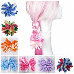 "Wholesale Hair Clip Loop - 20pcs Random 4"" M2M Gymboree style prints dot Curlies loop Ribbon Korker hair bows clips Girl women Corker hair ties Accessories PD007"