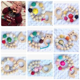 Wholesale Crochet Clips - Baby Infant Wood Beads Teether Rings Teether Pacifier Clip Gift Crochet covered beads baby teething KKA3595
