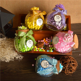 Wholesale Tin Candy Pails - Glass Jar Wedding Favors Candy Boxes Chocolate Boxes Clear Transparent Glass Square Storage Bottle Castor And Candy Bottle Screen Beautiful