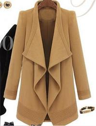 Wholesale Elegant Gossip - Wholesale-Gossip Girl Serena Blake Christina Lively Coat Irregular Elegant Warm Wnter Wollen Coat Women Navy Blue   Camel Color S - XL
