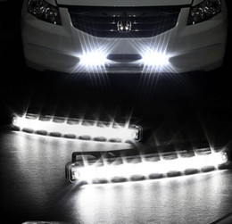 Wholesale Head Lighting Led - Super White 8 LED Super Bright White DRL Car Daytime Running Light Head Lamp Universal IP67 Waterproof Day Lights Running Head Lamp
