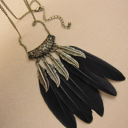 Wholesale black feather choker - Hot Sale Bohemian Feathers Charms Pendants Long Necklaces Women's Sweater Necklace Jewelry 12pcs lot