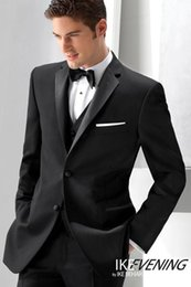 Wholesale Cheap Light Ropes - Three Pieces Custom Made Two Buttons Black Men`s Wedding Suits Wedding suits for men Groom Wedding Suits Men`s Dresses Wedding Tuxedos Cheap