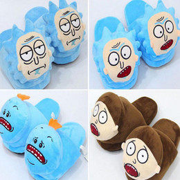 Wholesale Outdoor Bricks - Rick and Morty Plush Slippers Rick and Morty Soft Warm Household Winter Slippers for women man big children Shoes 28cm KKA3223