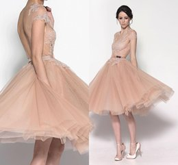 Wholesale Cute Sheer Skirts - Peach 2015 Short Valentine's Day Prom Dresses Sexy Sheer Lace Crew Puffy Tulle Skirt with Cute Sash Backless Formal Party Eveni Gowns GD-468