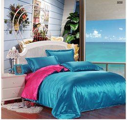 Wholesale Silk Sheets Double - Lake blue and rose red satin silk bed linen double sides silk bedding set silk comforter cover bed sheet pillowcases 5035