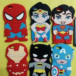 Wholesale Superman Iphone Case Blue - For iPhone 5 6 6plus Avengers Case Cute Cartoon Captain Batman Spider Iron Man Superman Soft Silicone Back Cover