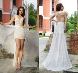 Wholesale Short Overlay Dress Prom - Sexy Vestido de fiesta longo 2015 Prom Dresses Plunging V-neck Illusion Lace Bodice Short Skirt under long chiffon skirt overlay Gown GD-191