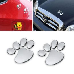 Wholesale Wholesale Body Stickers - 12sheets Hot Sale 3D Car Window Bumper Body Decal Sticker Bear Dog Animal Paw Foot Prints Pattern Sticker Gold Silver Tone Free