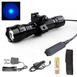 Deutschland USA EU Heißer Sel WF-501B 1-Mode Cree Q5 Blaue LED Taschenlampe Taktische licht mit Batterie / Ac ladegerät / Auto ladegerät / taschenlampe holster / cheap tactical led flashlights holster Versorgung