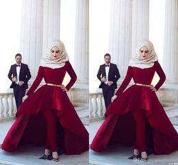 Wholesale Black Velvet T Shirt - Long Sleeves Arab Muslim Evening Dresses Middle East High Neck Gold Sash Hi Lo Velvet Formal Party Dresses with Pants Arabic Dresses