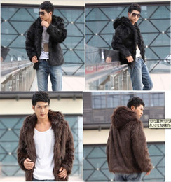 Wholesale Mens Leather Jackets Brown Winter - Fall-2015 winter Faux Fur Mens Jacket Men's Coats Hoodies Fur Coat Men Motorcycle Leather Clothing Winter Outerwear