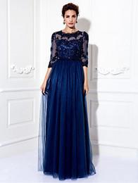 Wholesale Military Royal - A-line Appliques 3 4 Length Illusion Sleeve Bridesmaid Dress Jewel Floor-length Tulle Dress Prom Military Ball Dress Wedding Party Dress