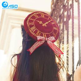 date live kurumi Desconto Atacado-japonês Anime mulheres boina DATA AO VIVO Tokisaki Kurumi Lolita Kawaii Casual Clássico Beret Hat Clock bowknot Cosplay Boina Cap