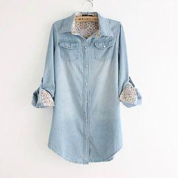 Wholesale Denim Boyfriend Shirt - 1510 PLUS SIZE Denim Shirt Blouse top Jeans floral Print long sleeve boyfriend camisa blusa femininas ladies women autumn fall 2015