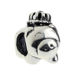 Wholesale 925 Silver Pig - Beads Hunter Jewelry Authentic solid 925 Sterling Silver Blue Ribbon Pig Charm fashion big hole bead For 3mm European Bracelet snake chain