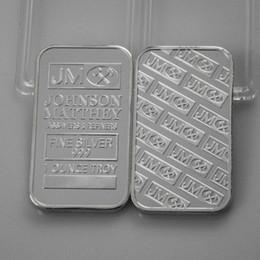 Wholesale Bank Coins - 2 pcs lot, Bank Super JM Johnson Matthey Morgan 1 OZ silver plated American coin bar