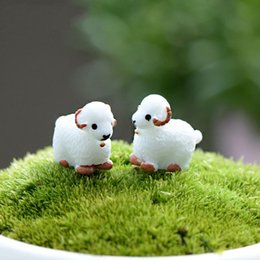 Wholesale Cute Cabochons - 2Pcs Cute Mini Kawaii Cabochons Sheep Goat Resin Figurines Miniature Animal Micro Landscape Fairy Garden Terrarium Accessories