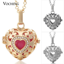 Wholesale Stainless Ball Chains - VOCHENG Mexican Chime Pendant 3 Colors Copper Metal Angel Ball Chain Necklaces with Stainless Steel Chain VA-026