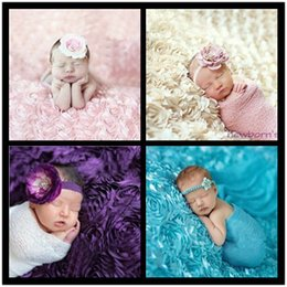 Wholesale Photo Prop Rug - Floral Swaddling Baby Blankets Newborn Fashion 3d Photography Photo Props Rose Flower Backdrop Rug 10colors 65*95cm