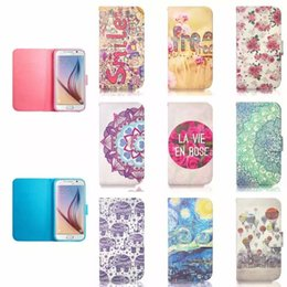Wholesale Galaxy S4 Elephant Case - For Samsung Galaxy S6 Edge S5 S4 Wallet Leather case Smile Elephant Flower Free Pouch card slot holder Stand TPU cover Iphone 4 5 6 plus