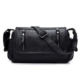 Wholesale Doctor Hard - new Fashion Simple Double Zipper Women Shoulder Bags High Quality PU Leather Women's Messenger Bag Women Bags Mochila
