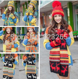 Wholesale Knit Hat Snowflakes - Wholesale-Christmas snowflake deer printing hat gloves scarf three sets, 100% acrylic winter warm wool knitted suit, new year gifts