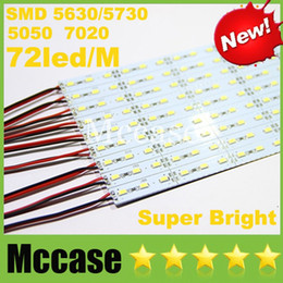 Wholesale 18w 72led - Showcase LED Bar Light SMD 5630 5730 7020 5050 DC12V 100cm 72led 1M Cool Warm Pure white Hard Rigid Aluminum Alloy Strip Lights Lamp CE ROHS