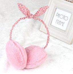 Wholesale Polar Pink - Wholesale-Cute Fashion Winter 2015 New Women Earmuffs Ear Muff polar fleece Fur plush girls Warmer Knitted headbands Rabbit Hare