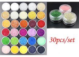 Wholesale Acrylic Nail Art Accessories - Wholesale- 30pots lot X Nails Glitters Acrylic Powder Dust For Nail Art Tips for Nails Accessories !