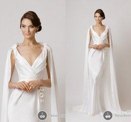 Wholesale Handmade For Spring - Modest Mermaid Wedding Dresses with Cloak Handmade Flower V Neck Sleeveless Sweep Train Ruffles Satin 2016 Spring Bridal Gowns for Wedding