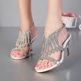 2015 punta abierta 3 pulgadas de verano Sexy sandalias de tacón alto de plata Rhinestone vestido de boda zapatos mujeres moda Slingbacks zapatos de novia desde fabricantes