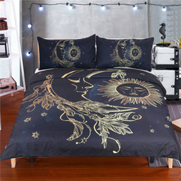 Wholesale Floral Duvet King - Floral Moon Sun Bedding Sets Duvet Cover Pillow Shams for Teens Boys Children Adults Home Textiles Bedspreads Bedroom Stars Twin Full Queen