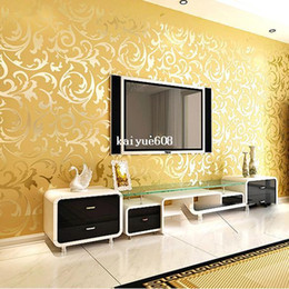 Wholesale Silver Wallpaper For Living Room - High-End 10M Luxury Embossed Patten Textured PVC Wallpaper Wall Paper Roll For Living Room Bedroom TV Gold Silver