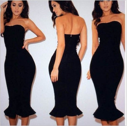 Wholesale Drop Ship Mermaid Dress - New Arrival Fashion Women Dress Fishtail Bodycon Strapless Pencil Bandage Dress Vestido De Festa Sexy clothes mermaid dress free shipping
