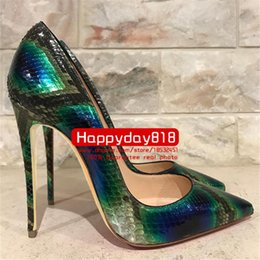 Wholesale Women High Heels Snake Sandals - Free shipping fashion women pumps green python snake genuine leather point toe high heels cone heel shoes sandals thin heel