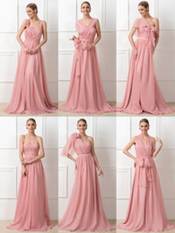 Wholesale Wedding Dresses Convertible Skirt - high quality convertible ruched long bridesmaid dresses 2018 A-Line chiffon skirt zipper back long formal party dresses for wedding guest