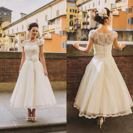 Wholesale Simple Flower Sash - Vintage Scoop Cap Sleeves Tea Length A Line Lace Wedding Dresses 2017 Hand-made Flower Sash Arabic Country Rustic Bride Wedding Gowns
