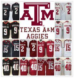 Wholesale Green Miller - Stitched NCAA Texas A&M Aggies College Myles Garrett 15 VON MILLER 40 Johnny Manziel 2 Ricky Seals Jones 9 Football Jersey jerseys NEW